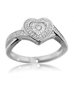 Ladies Natural Diamond Heart Shaped Ring Pave Set Round Diamonds Gift Love Ring (i2/i3, i/j, 0.14ctw)