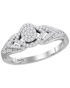 10K White Gold Natural Diamond Engagement Ring Promise Ring 1/5ctw