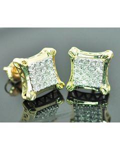 10K Gold Diamond Earrings 11mm Wide Kite Shaped Mens Fashion Earrings Large 0.42ctw