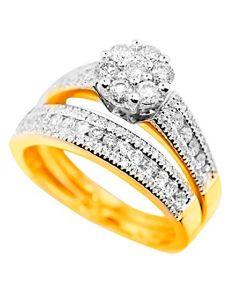 10K Gold Bridal Wedding Set Natural Genuine Diamonds 1.00cttw Engagement Ring and Wedding Band (i2/i3, i/j) (7)