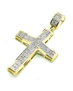 10K Yellow Gold Real Diamond Cross Charm Pendant 1/3ctw 40mm Tall 1.57 Inch