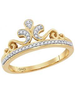 10K Gold Crown Ring for Her 1/10ctw Natural Diamonds Ladies Fashion Ring (i3, j/k)