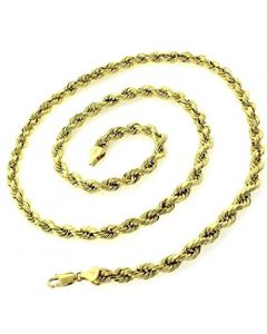 10k Yellow Gold 4mm Solid Rope Chain Necklace Lobster Clasp