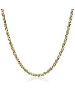 10k Yellow Gold 2mm D-cut Rope Chain Necklace Lobster Clasp