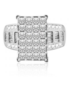 14mm Wide Wedding Ring 3 in 1 Style Princess Cut, baguettes and Round Sterling Silver
