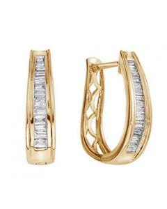 10K Gold Genuine Diamond Hoop Earrings Baguettes 1/3ctw 15mm Ladies Hoop Earrings