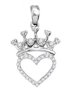 Natural Diamond Crown Pendant Ladies Fashon Pendant 1/10ctw Diamond Sterling Silver (i3, j/k)