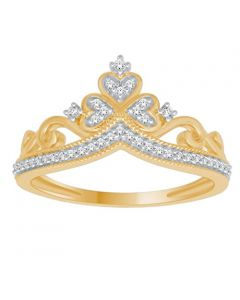 10K Gold Crown Ring Natural Diamond 0.12ctw Pave Set Ladies Fashion Statement Ring