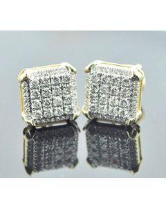 10K Gold Diamond Earrings 0.45ctw Mens or Women 10mm Wide Square Shaped Fancy Screw Back Earrings