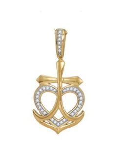 10K Gold Anchor Pendant With Heart Natural Diamonds Pendant 1/10ctw