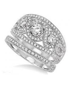 14K White Gold Bridal Set 3-Stone Style Filigree Sides Extra Wide 1.16ctw