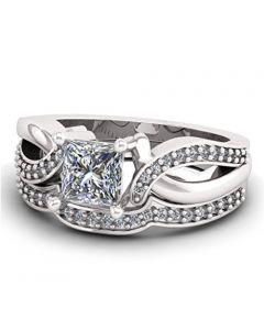14K White Gold Bridal Set Princess Cut Solitaire Split Sides 2pc Set 1.55ctw