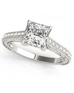 14K White Gold Princess Cut Engagement Ring Filigree Sides 2.5ctw