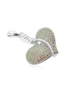10K White Gold Ladies Diamond Heart Pendant Cognac Diamonds 1.40ctw (i2/i3)