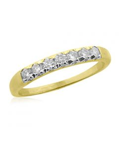 14K Gold Wedding Band Anniversary Ring 1/4ctw Diamonds 7 Round Cut Diamonds
