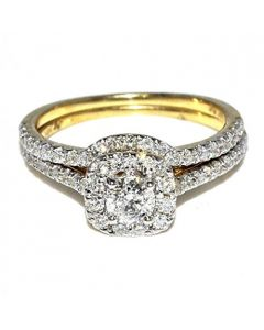 14K Gold Bridal Ring Set 0.90ctw Natural Diamonds Round Solitiare With Halo