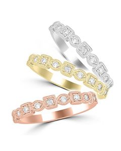 14K White Gold Or 14K Rose Gold Or 14K Yellow Gold Stackable Rings 0.15ctw Diamonds