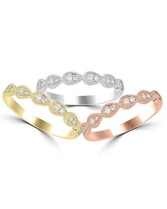 14K White Gold, Rose Gold, Or Yellow Gold Stackable Rings 0.15ctw Diamonds (i2/i3, i/j)
