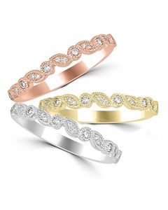 14K Gold Stackable Bands in Rose Gold, White gold Or Yellow Gold Your Choice 1/10ctw