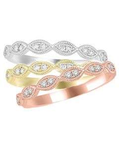 14K Rose Gold, White Gold or Yellow Gold Stackable Diamond Bands 1/10ctw Pave set (i2/i3, i/j)