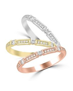 14K Gold Stackable Bands in Rose Gold, White gold Or Yellow Gold Your Choice 0.15ctw