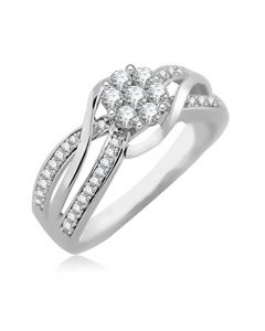 10K White Gold Bridal Engagement Ring 1/2ctw Natural Diamonds