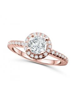 Halo Engagement Ring Rose-Gold Tone Silver 1.5ctw Cz 8.5mm Wide
