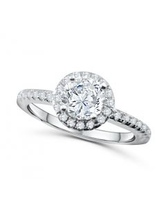 Ladies Engagement Ring Halo Style 1.5ctw Sterling Silver With Cz 8.5mm Wide