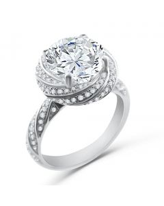 Engagement Ring 3ctw Sterling Silver and CZ Flower Style Vintage Inspired