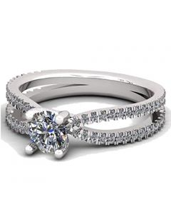 14K White Gold Engagement Ring 1.00ctw Cubic Zirconia Split Sides Round Solitaire