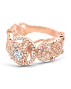 Ladies Engagement Ring Womens 2.00ctw Rose-Gold Tone Silver Vine and Halo Style