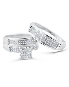 White Gold Trio Wedding Set Men Women Rings Real 1/3cttw Diamonds Pave (I2/i3 Clarity, I/j Color)