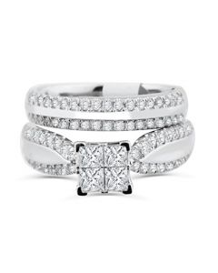 10K White Gold Princess Cut Bridal Set Engagement Ring and Band Cathedral Style 1.30ctw