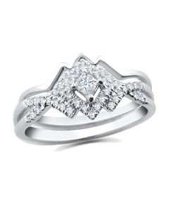 10K White Gold Bridal Set 1/4ctw Princess Cut Center Diamonds Heart Beat Wedding Band 2pc Set