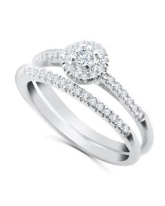 10K White Gold Bridal Wedding Set for Her Halo Style Slander 0.30ctw Natural Diamonds
