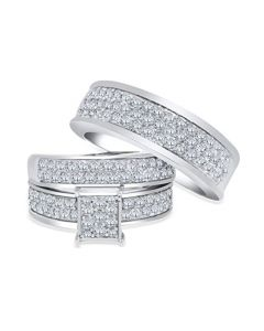 10K White Gold Trio Rings Set His and Her Rings 2.00ctw Diamonds Extra Wide