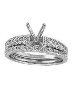14K White Gold Bridal Set Semi Mount Fits Upto 1ct Solitaire 1/3ctw Diamonds