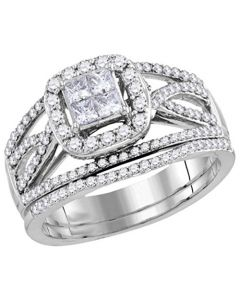 14K White Gold Wedding Ring 1.00ctw Princess Cut Diamonds Wide Ring With Split Side