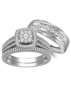 10K White Gold His And Her Rings Trio Wedding Rings Set 3/4ctw Diamonds (i2/i3, I/j)