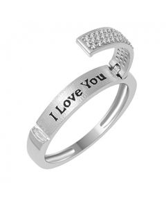 Diamond Wedding Band Ring I love You Engraved 0.15ctw Diamonds Anniversary Ring 4mm