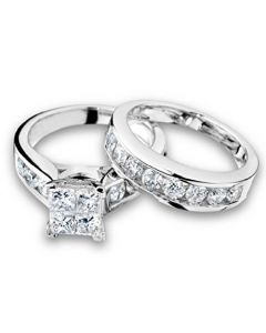 Princess Cut Diamond Engagement Ring and Wedding Band Set 1.00 Carat (ctw) in 10K White Gold