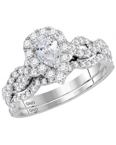 14K White Gold Pear Shaped Diamond Solitaire Bridal Set Infinity Sides 1.00ctw