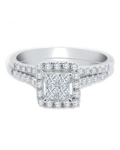 14K White Gold Bridal Set Princess Cut Diamonds 1/2ctw Engagement Ring and Band 7.5mm wide