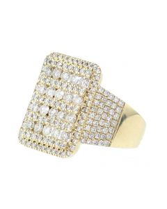 14K Gold Mens Ring With Diamond Extra Wide 22mm 3.16ctw Round Diamonds