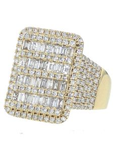 Diamond Ring for Men 14K Gold Extra Wide 22mm 3.29ctw Baguette and Round Diamond Pinky Ring