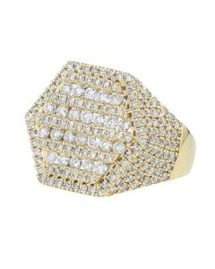 14K Gold Diamond Fashion Ring for Men 2.8ctw Round Diamonds Wide Ring