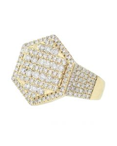 14K Gold Diamond Ring for Men Pinky Ring Stop Sign Round Cut Diamonds 2.3ctw 21mm Wide