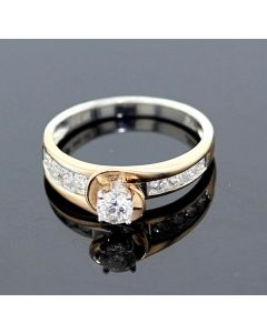 Rose Gold Bridal Set Womens Engagement ring and Band Set 0.60ctw Diamonds and 14K Rose Gold