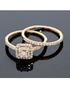 Rose Gold Bridal Set Womens Engagement ring and Band Set 0.75ctw Diamonds and 10K Rose Gold