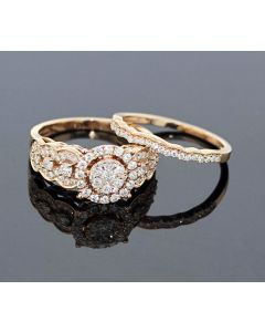 Rose Gold Bridal Set Womens Engagement ring and Band Set 1.00ctw Diamonds and 14K Rose Gold